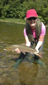 Mandy and her first fly caught salmon